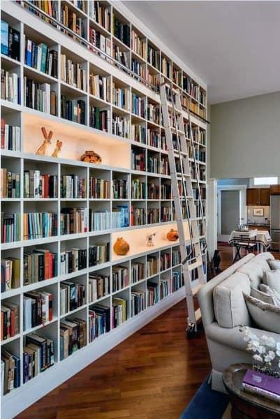 Full Wall Ladder Bookshelf Ideas