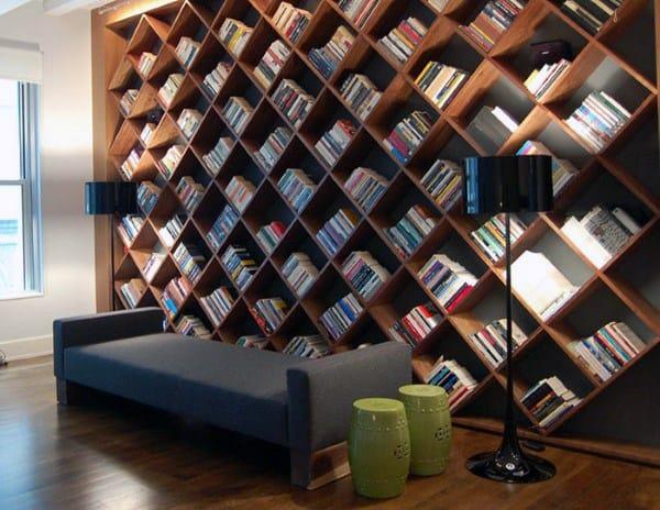 Full Wall Wood Gigantic Bookshelf Ideas