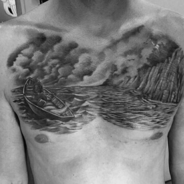 Full Water Chest Shading Tattoo For Men