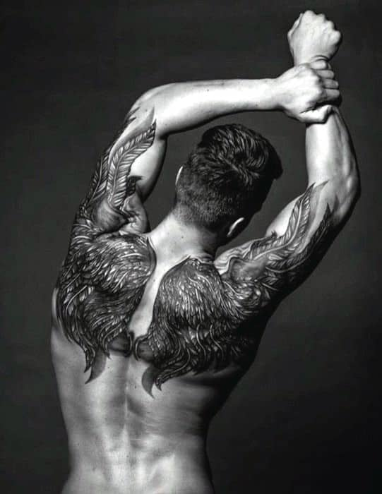 Full Wings Tattoo On Back For Men