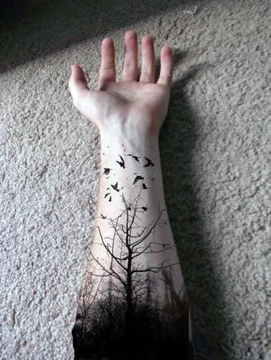 Full Wrist Tree Tattoo Designs For Males