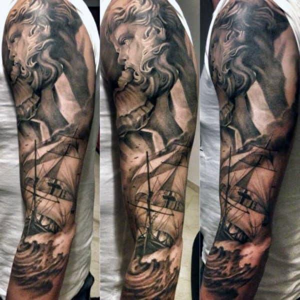 Full Sleeve Poseidon Tattoo Artwork For Men