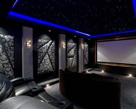 Home Theatre Design Ideas 2 tags eclectic home theater with carpet interior wallpaper high ceiling Fully Custom Movie Room Home Theater Design Ideas