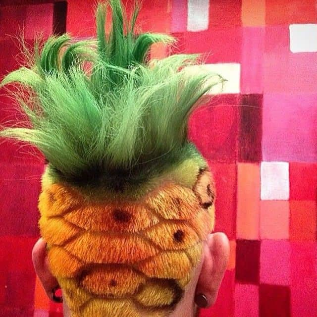 A Mohawk haircut created in shape of a pineapple for maximum cyberpunk look