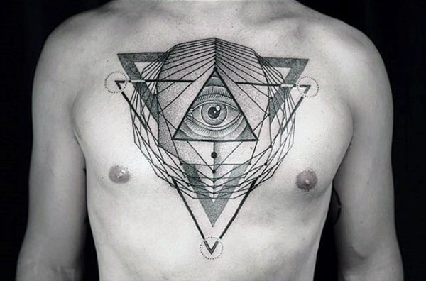 Funky Triangular Tattoo Design On Chest For Men