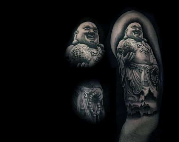 Funny Laughing Buddha Tattoo On Shoulders For Men