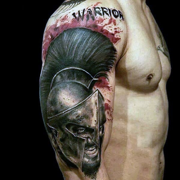 Furious Warior With Large Feathered Helmet Tattoo Guys Biceps