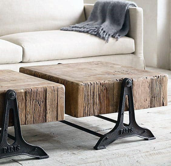 Furniture For Man Cave Wood Block Industrial Coffee Table