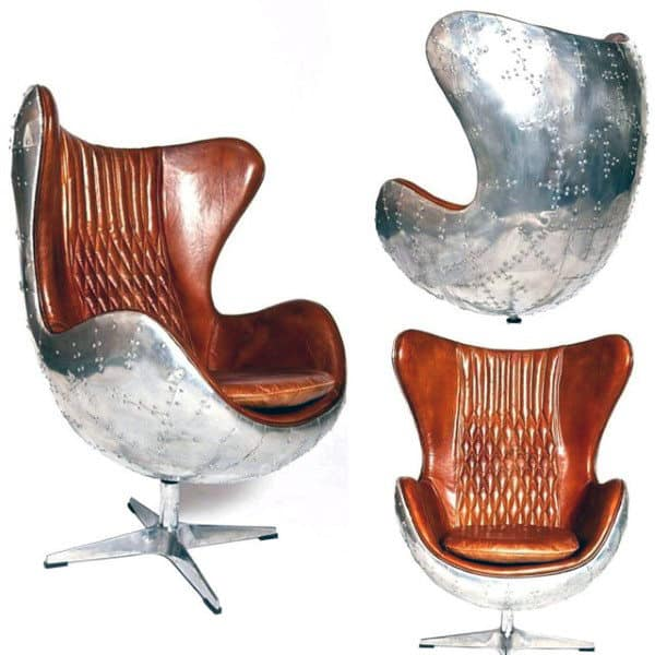 Furniture For Men Caves Retro Leather And Aluminum Rivet Chair