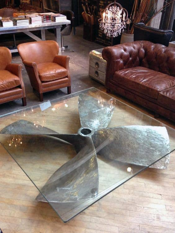 Furniture Man Cave Ideas Ship Rudder Glass Table