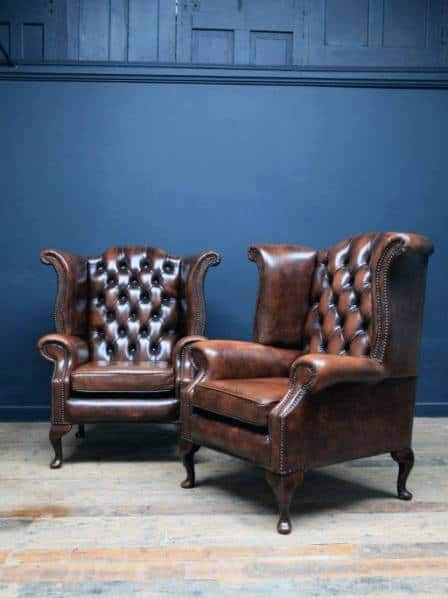 Furniture Ultimate Man Cave Chair Traditional Brown Leather Luxury Design