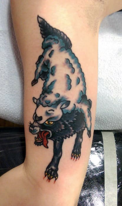 Furry Beast Traditional Tattoo Mens Arms