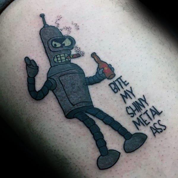 Futurama Mens Bender Thigh Tattoos