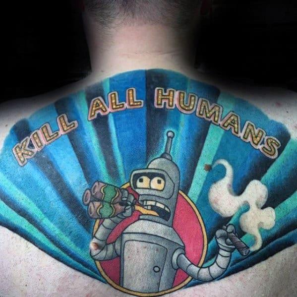 Futurama Themed Guys Bender Upper Back Tattoos