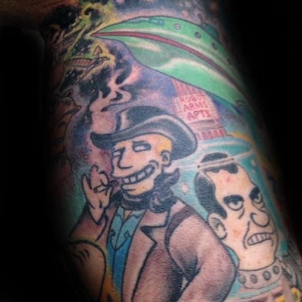 Futurama Themed Male Arm Sleeve Tattoo Inspiration
