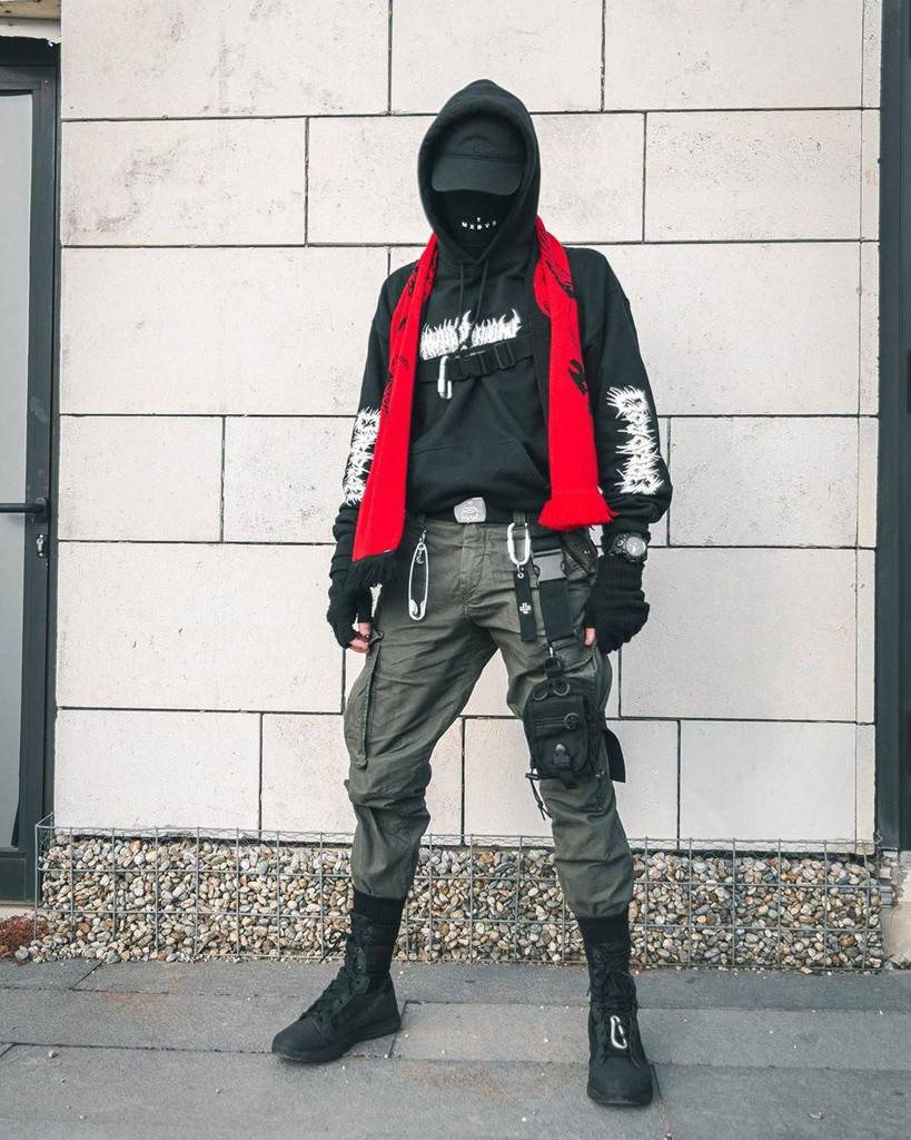 futuristic fashion for men black jacket with red scarf