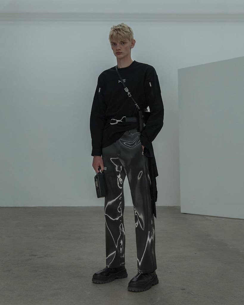 futuristic fashion for men black long sleeves shirt and unique designed pants