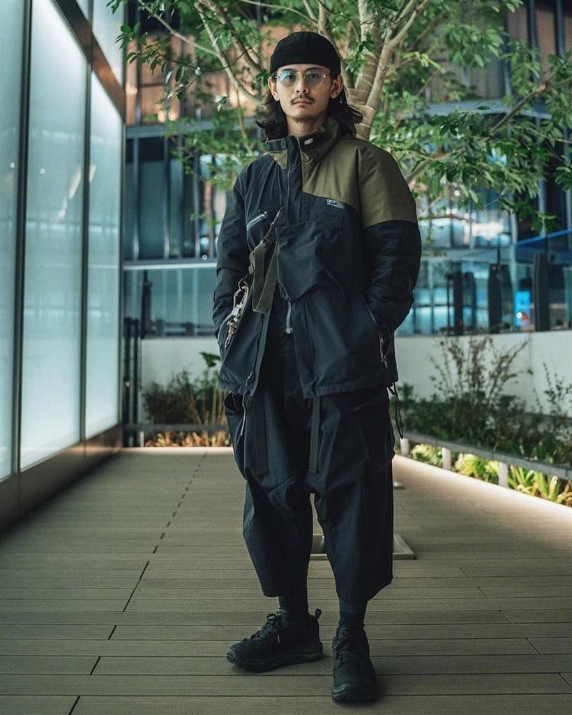 futuristic fashion for men dark colored jacker paired with black loose pants