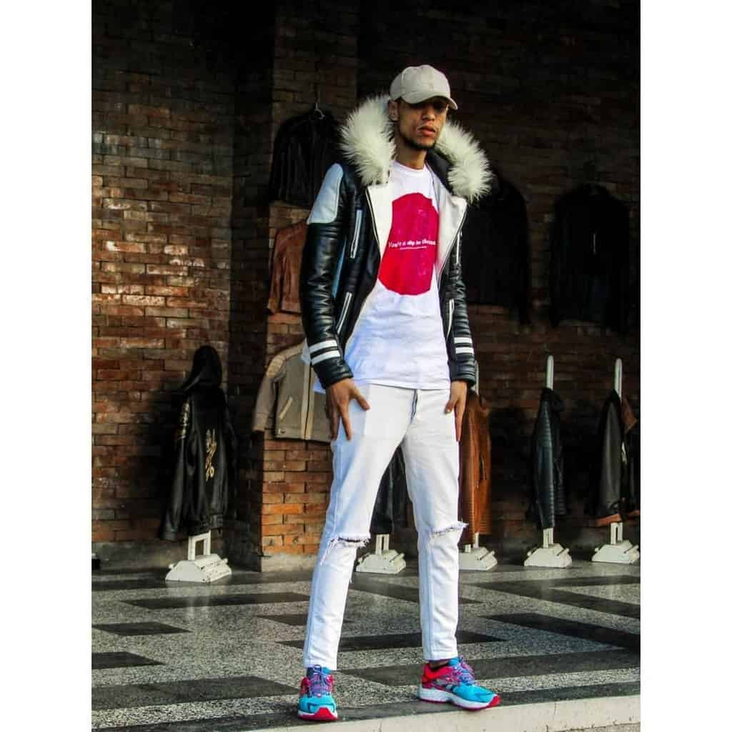 futuristic fashion for men fur jacket and white pants