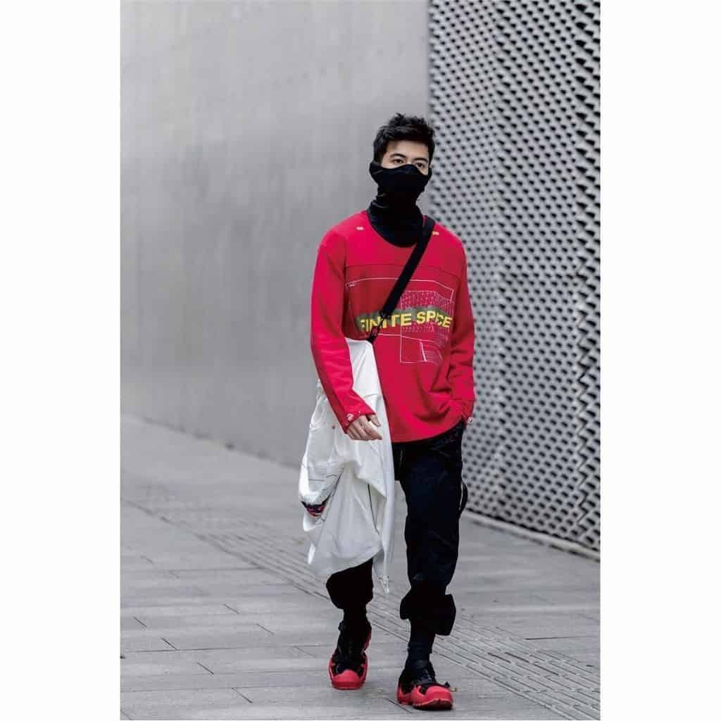 futuristic fashion for men red sweat shirt and black pants