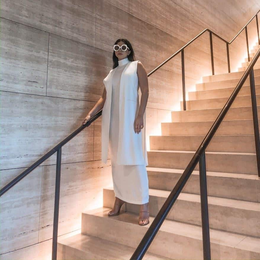Futuristic Fashion In All White Outfit, minimalist and modern outfit