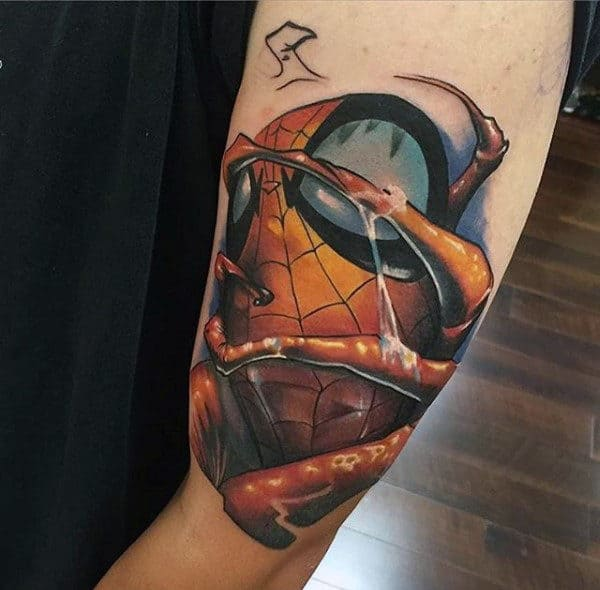 Futuristic Spiderman Mens Arms Tattoo Design Ideas