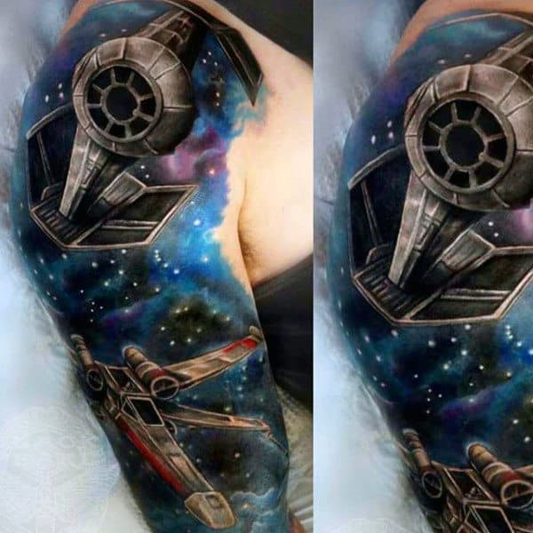 Galaxy And Star War Vehicles Tattoo Male Full Sleeves