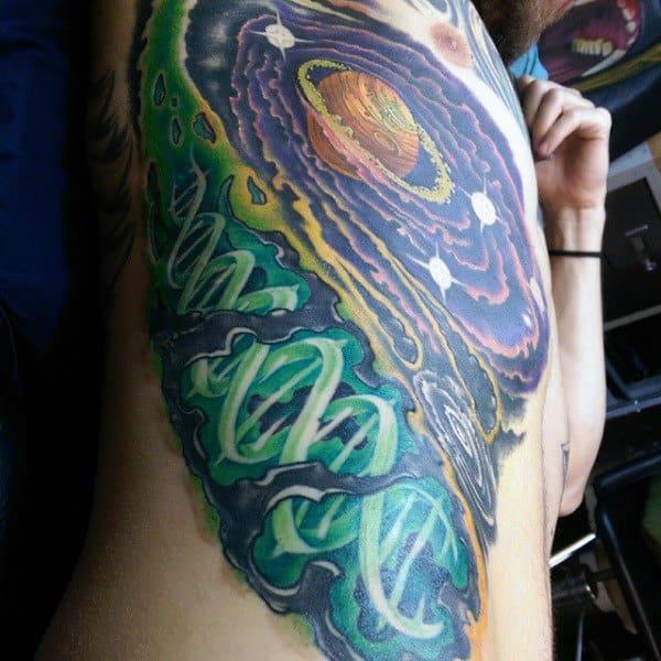 Galaxy Mens Glowing Green Dna Tattoo