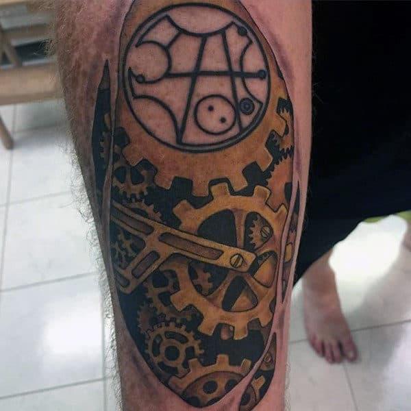 Gallifreyan Mens Gear Inner Forearm Tattoo