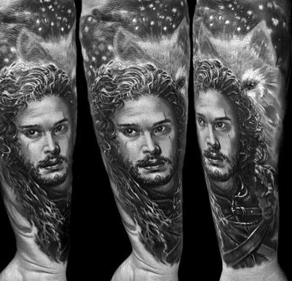Game Of Thrones Jon Snow Forearm Sleeve Tattoos Male