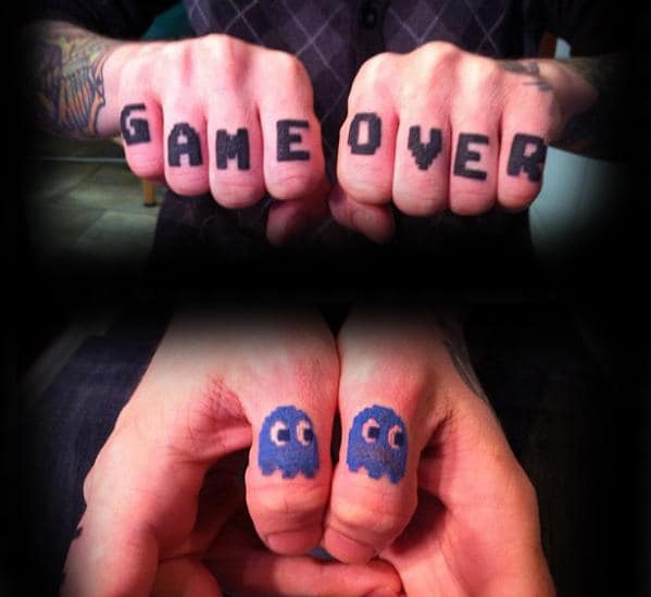 Game Over Mens Pacman Finger Tattoos