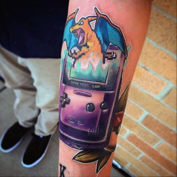 Gameboy Pokemon Mens Inner Forearm Tattoo
