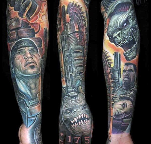 Gamer Gears Of War Guys Full Sleeve Tattoos