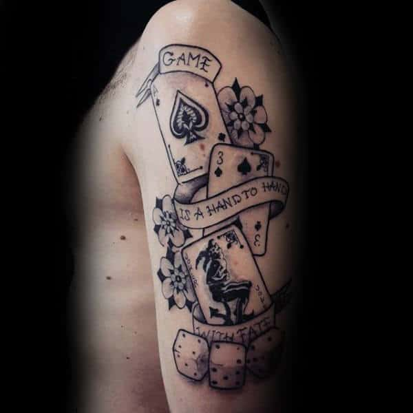 Gaming Guys Old School Playing Card Upper Arm Tattoos