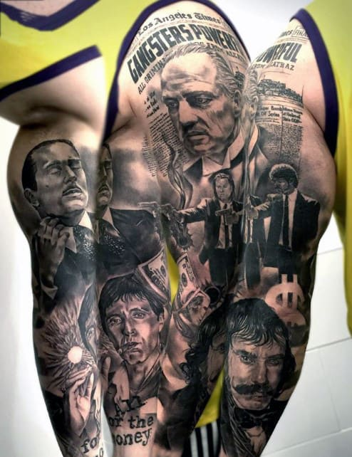 Gangster Themed Guys Pulp Fiction Arm Sleeve Tattoo