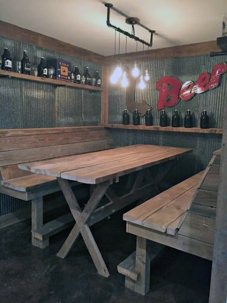 Garage Bar Wood Seating Design Ideas