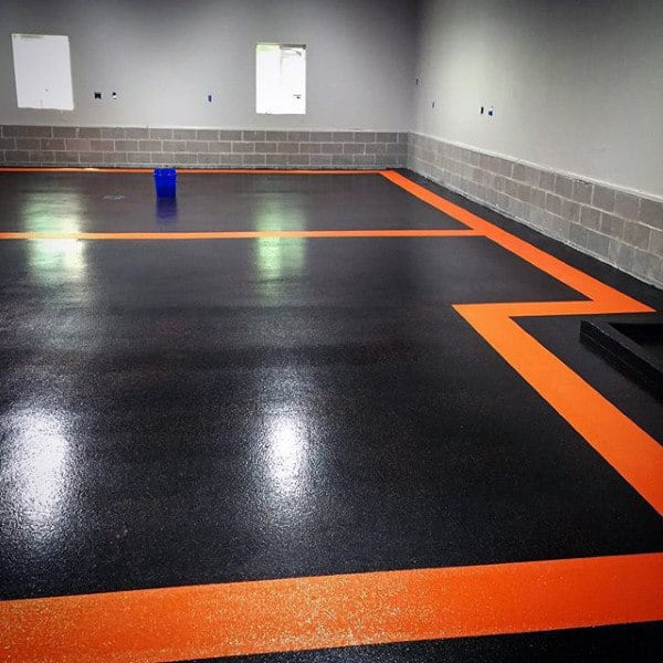 90 Garage Flooring Ideas For Men - Paint, Tiles And Epoxy Coatings on spray paint garage floor, base concrete floor, diy acid stained concrete floor, painted concrete floor,