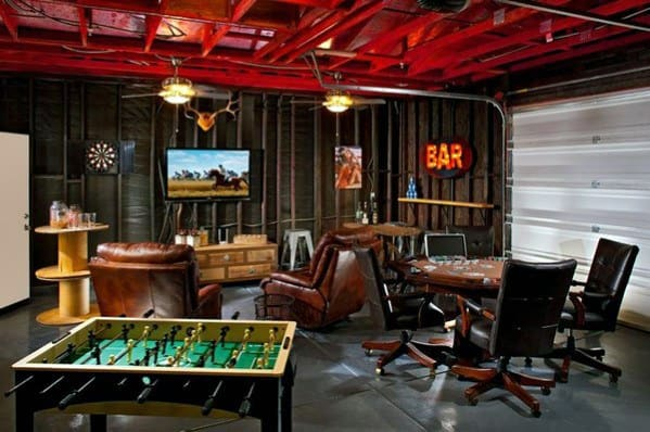 50 gaming man cave design ideas for men manly home retreats for 2 car garage man cave
