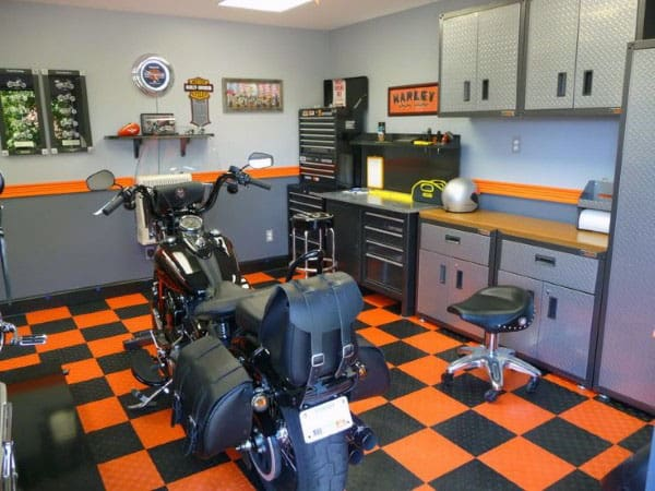 Garage Painting With Harley Davidson Theme Orange And Grey Walls