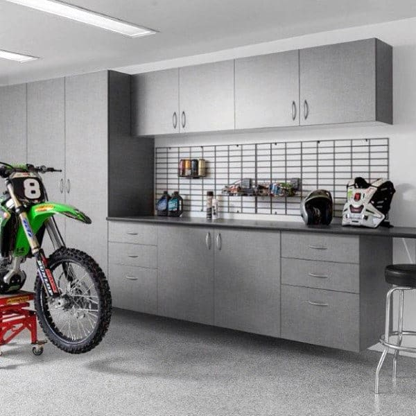 Garage Storage Design Grey Cabinets With Wire Rack On Wall