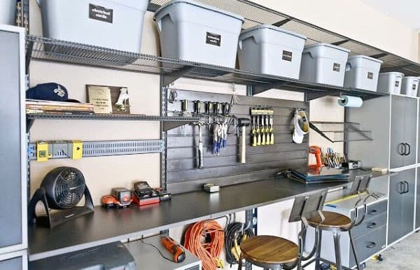 Garage Storage Racks With Baskets Cool Workbench Setup