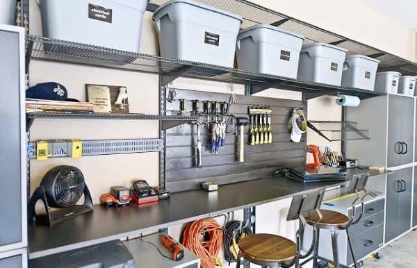 Garage Storage Racks With Baskets Cool Workbench Setup