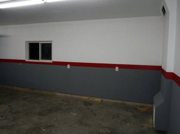 Garage Wall Paint Colors Grey And White With Red Stripe In Center