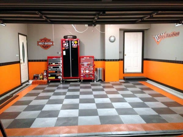 Garage Walls Orange Black And Grey