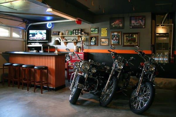 Garage With Bar And Harley Davidson Themed Wall Paint Colors