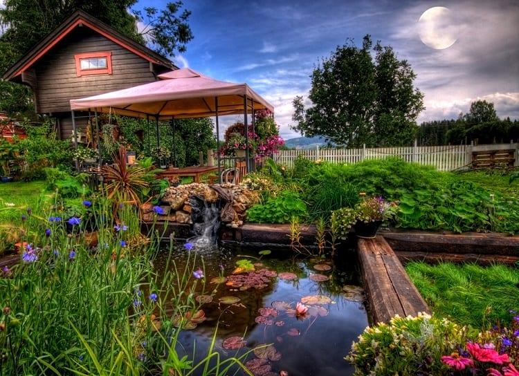 Garden With Flowers Backyard Pond Sitting Area