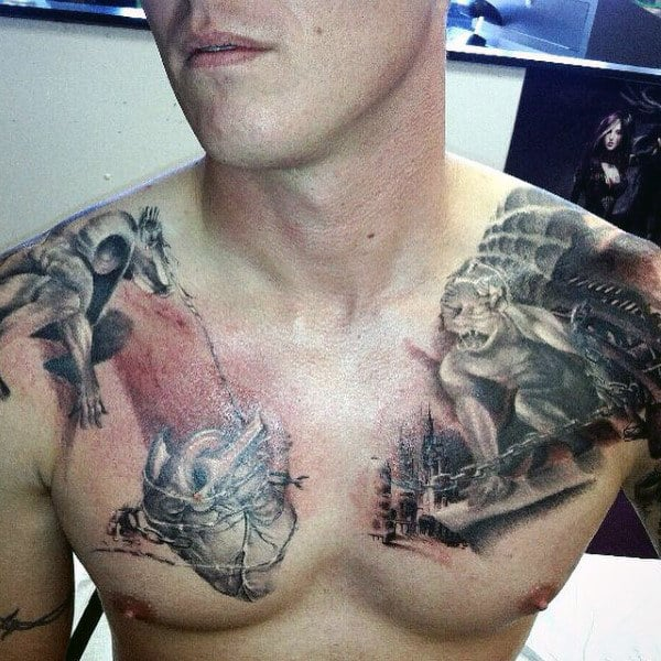 Gargoyle Chained Heart Mens Chest Tattoo Designs
