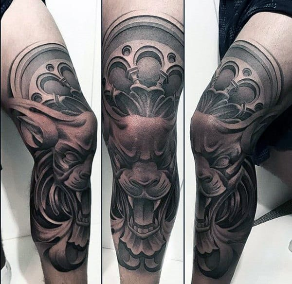 Gargoyle Church Window Crazy Guys Thigh And Leg Sleeve