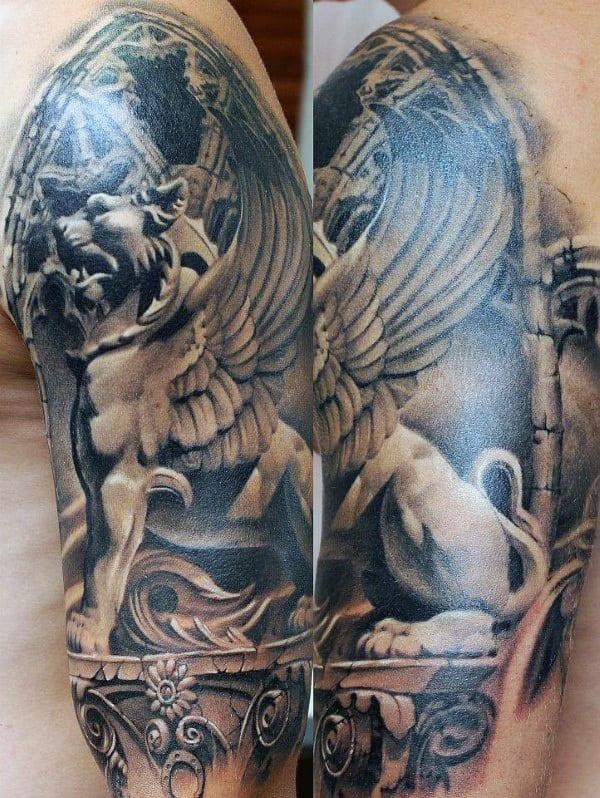 Gargoyle Stone 3d Realistic Mens Half Sleeve Tattoos