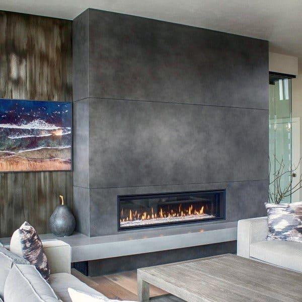 Gas Concrete Fireplace Design
